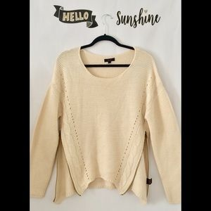 Sweaters - E&M Side Zipper Cream Crewneck Sweater